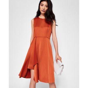 NWOT Ted Baker Rust Winni front fold pleated dress